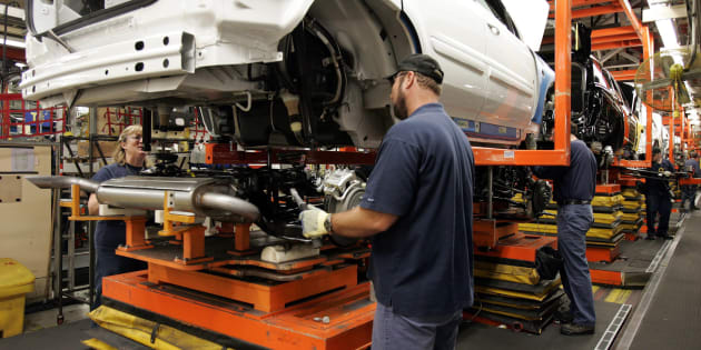 """Auto production at the CAMI Automotive facility in Ingersoll, Ontario, Thursday, Dec. 21, 2006. A new report says there's """"no sustained indication"""" that Canada's automotive manufacturing sector will return to pre-recession levels of capital investment."""