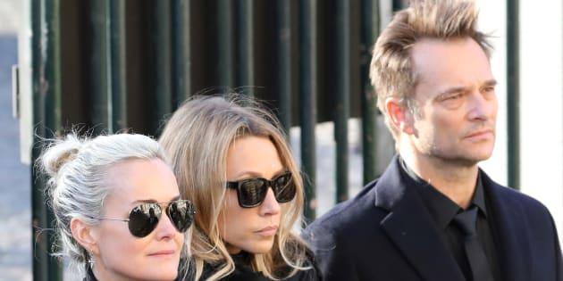 Laetitia Hallyday, Laura Smet et David Hallyday à l'enterrement de Johnny Hallyday.