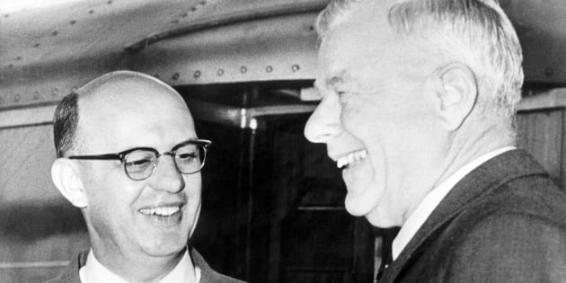 """HF Verwoerd and PW Botha on 14 December 1959. Verwoerd is considered the """"architect of apartheid"""". Botha was to become premier and later state president."""