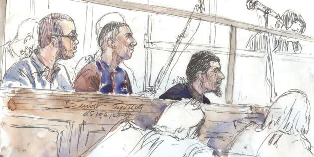 Un dessin d'audience, réalisé le 4 avril, montrant Hamza Mosli, Adil Barki et Ali Abdoumi lors du procès à Paris.