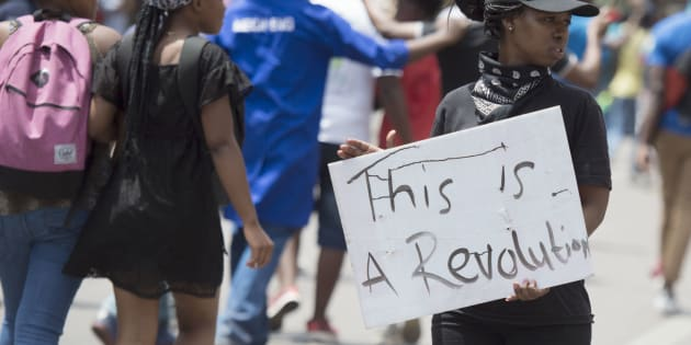 Tshwane University of Technology (TUT) march from the main campus to the CBD during #FeesMustFall protests on October 12, 2016.
