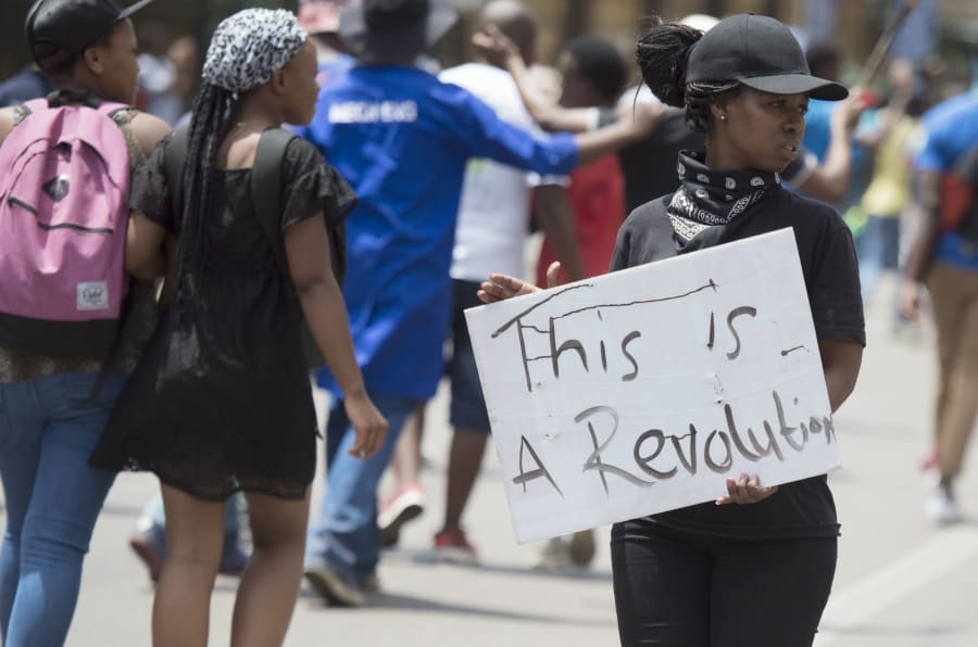 Tshwane University of Technology (TUT) students march from the main campus to the CBD during #FeesMustFall protests on October 12, 2016 in Pretoria.