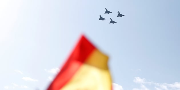 Four Eurofighter jets take part in a flypast as part of celebrations to mark Spain's National Day in Madrid, October 12, 2017. REUTERS/Andrew Winning