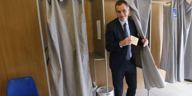 Gilles Simeoni, leader des nationalistes, lors du premier tour de l'élection.