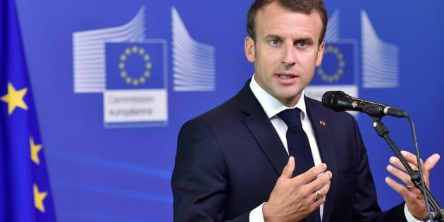 """Emmanuel Macron répond à Matteo Salvini: la France """"n'a de leçons à recevoir de personne"""" (Photo: Emmanuel Macron à Bruxelles, dimanche 24 juin 2018)"""