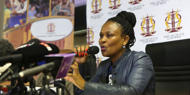 South Africa's Public Protector Busisiwe Mkhwebane speaks to journalists during a press briefing where she released reports on various investigations on June 19, 2017 in Pretoria.