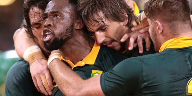 Siya Kolisi celebrates after scoring a try against France on June 17 2017, in Durban.