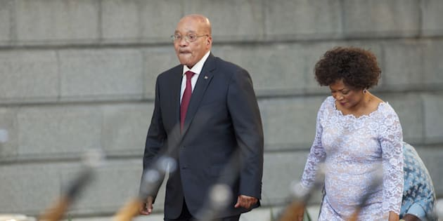 South Africa's President Jacob Zuma arrives with Speaker of Parliament Baleka Mbete to give his State of the Nation address at the opening session of Parliament in Cape Town, February 11, 2016.  REUTERS/Rodger Bosch/Pool