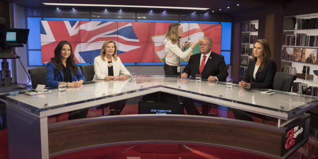 Ontario Conservative party leadership candidates (left to right) Tanya Granic Allen, Christine Elliott, Doug Ford and Caroline Mulroney are seen in TVO studios in Toronto on Feb. 15, 2018 following a televised debate.
