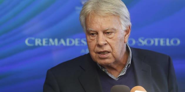 """Felipe González, el pasado febrero durante un acto convocado bajo el lema de """"España, por la libertad de Venezuela"""", celebrado en Madrid."""