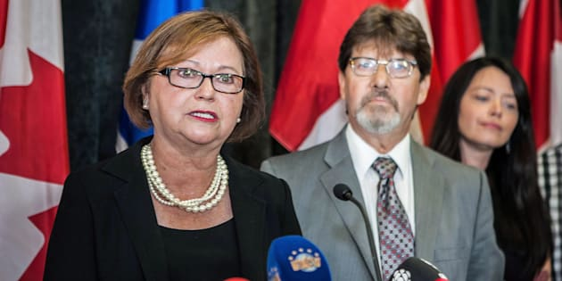 Judy Foote addresses a news conference in St. John's, N.L on  Aug.24, 2017.