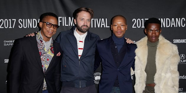 "(Left to right) Actor Bongile Mantsai, director John Trengrove and actors Nakhane Toure and Niza Jay Ncoyini at the premiere of ""Inxeba"" at the 2017 Sundance Film Festival at Prospect Square in Park City, Utah, United States, on January 22 2017."