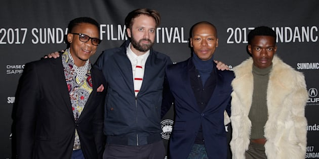 (L-R) Actor Bongile Mantsai, director John Trengrove, and actors Nakhane and Niza Jay Ncoyini attend the 'Inxeba' premiere at the 2017 Sundance Film Festival.