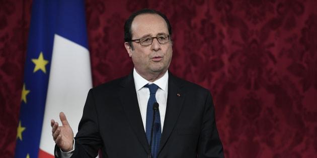 François Hollande à l'Élysée lors des festivités du Nouvel an du calendrier lunaire, le 8 février.