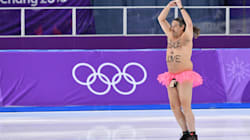 Streaker Crashes Olympic Speedskating With A Message For The