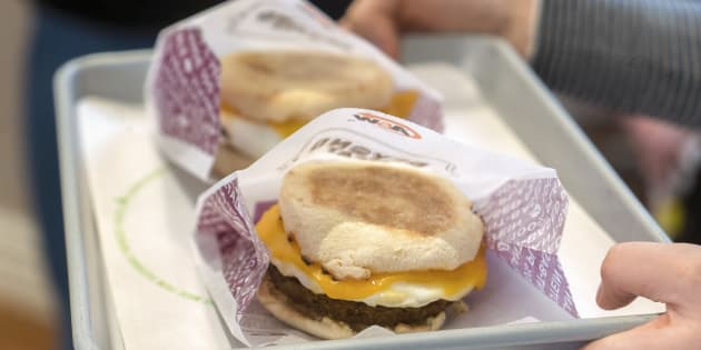 A&W's new Beyond Meat breakfast sandwich, which will become available in March.