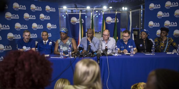 The DA leadership speak at a press conference at the party's federal congress in Pretoria on April 8 2018.