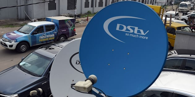 A picture shows broadcasting campany MultiChoice's digital satellite TV dishes installed on homes and offices.