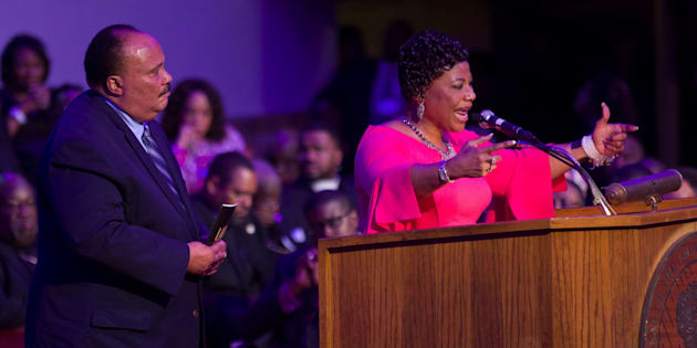 Two of Dr. Martin Luther King Jr.'s children,Martin Luther King III and Bernice King, speak at Mason Temple Church of God in Christ on April 3. Their father gave his final speech in that church on April 3, 1968, before he was assassinated the next day.
