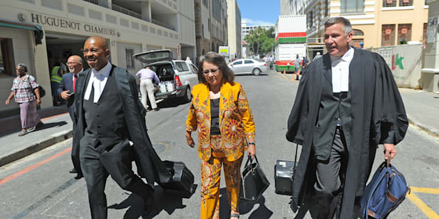 Patricia de Lille and her legal team outside the Western Cape High Court on February 13, 2018 in Cape Town.