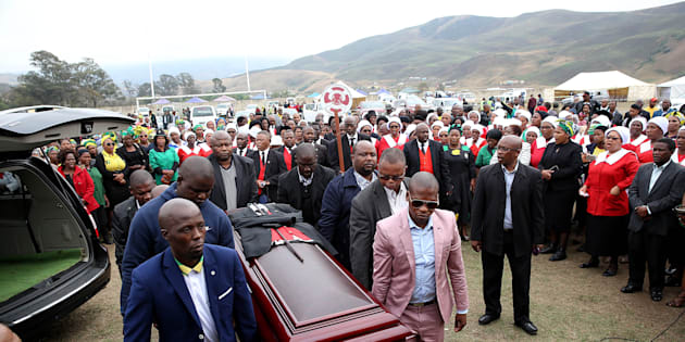 The funeral service of slain former Youth League secretary-general Sindiso Magaqa on September 16, 2017 in Umzimkulu, South Africa. Magaqa died in a Durban hospital two months after being shot multiple times.