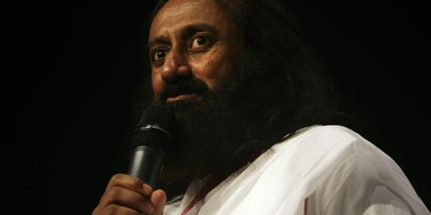 Indian spiritual leader, humanitarian and teacher, Sri Sri Ravi Shankar speaks to an South African audience gathered in Milnerton, Cape Town, on August 28, 2012.