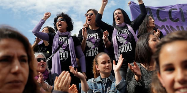 Women protest at a nationwide feminist strike on International Women's Day in Malaga, Spain, March 8, 2018. REUTERS/Jon Nazca