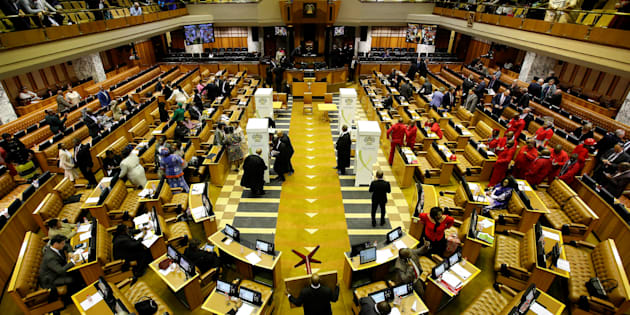 Voting stations are set up during the motion of no confidence against President Jacob Zuma in Parliament in Cape Town, August 8, 2017.