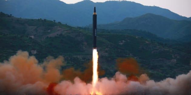Un missile balistique  tiré par la Corée du Nord le 15 mai 2017.