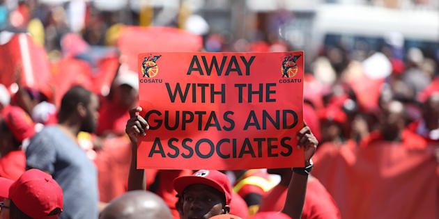 Cosatu members march against corruption and state capture on September 27, 2017 in Durban.