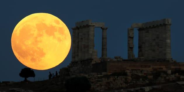 La vue de la Lune d'Athènes en Grèce.