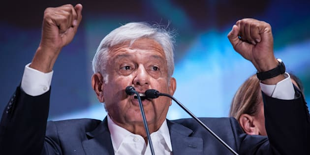 President elect of Mexico, Andres Manuel Lopez Obrador speaks during the celebration event on Sunday.