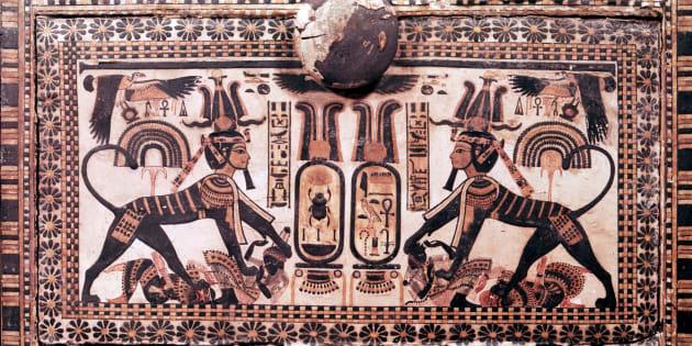 Detalle de un panel de la tumba de Tutankamón.