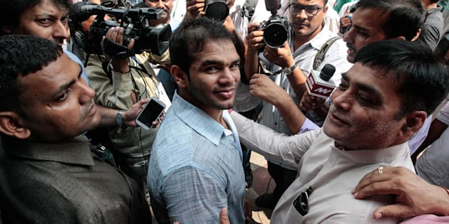 Wrestler Narsingh Yadav after meeting Prime Minister Narendra Modi at Parliament House in New Delhi.