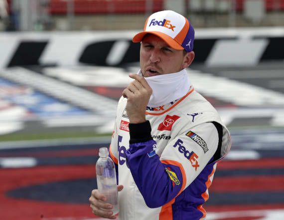 Hamlin crew members banned after metal falls off car