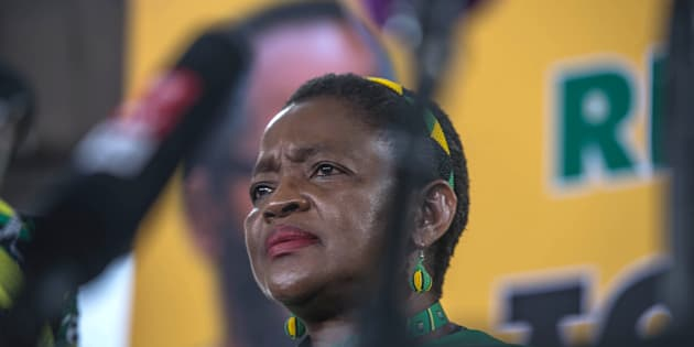 ANC Women's league President Bathabile Dlamini looks on during a press conference at the 54th National ANC Conference in Johannesburg, on December 19, 2017.