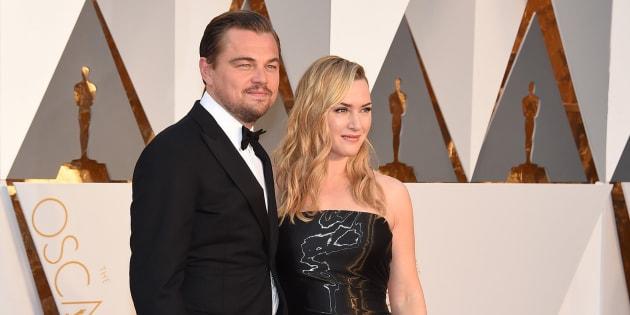 Kate Winslet y Leonardo DiCaprio durante la gala de los Oscars 2016.