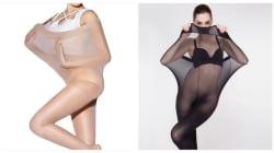 細身モデルがすっぽり入る「大きなサイズタイツ」広告。これってあり?なし?
