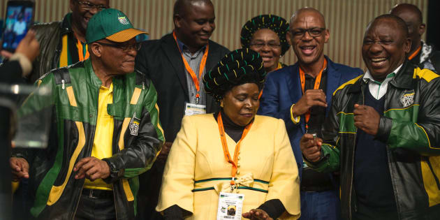 South African President Jacob Zuma (L), former African Union Chairperson and presidential hopeful Nkosazana Dlamini-Zuma (C) and South African Deputy President Cyril Ramaphosa.