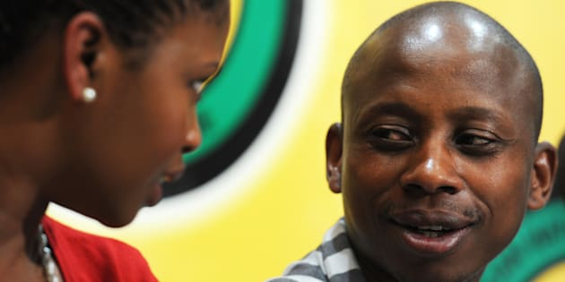 Khusela Sangoni speaks with Andile Lungisa at Luthuli House in Johannesburg, in May 2012.