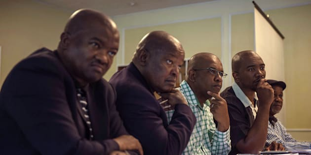 South African opposition parties' leaders Holomisa (UDM), Lekota (COPE), Mpofu (EFF), Maimane f (DA) and a member of IFP give a press briefing after a meeting on a possible motion of no confidence against Jacob Zuma, April 3, 2017, Johannesburg, South Africa.
