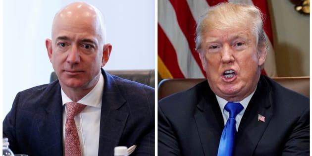 Combinación de imágenes del CEO de Amazon Jeff Bezos y el presidente estadounidense Donald Trump en la Casa Blanca.