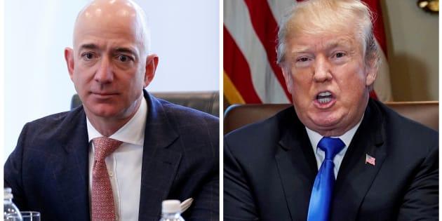 La foto muestra al CEO de Amazon Jeff Bezos en Nueva York y al presidente estadounidense Donald Trump en la Casa Blanca en Washington, el 14 de diciembre de 2016 y el 20 de diciembre de 2017, respectivamente.