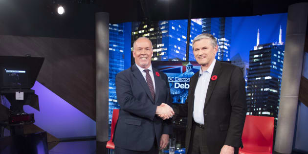 B.C. Premier John Horgan and Liberal Leader Andrew Wilkinson are photographed following an electoral reform debate at Global Television in Burnaby, B.C on Nov., 8, 2018.