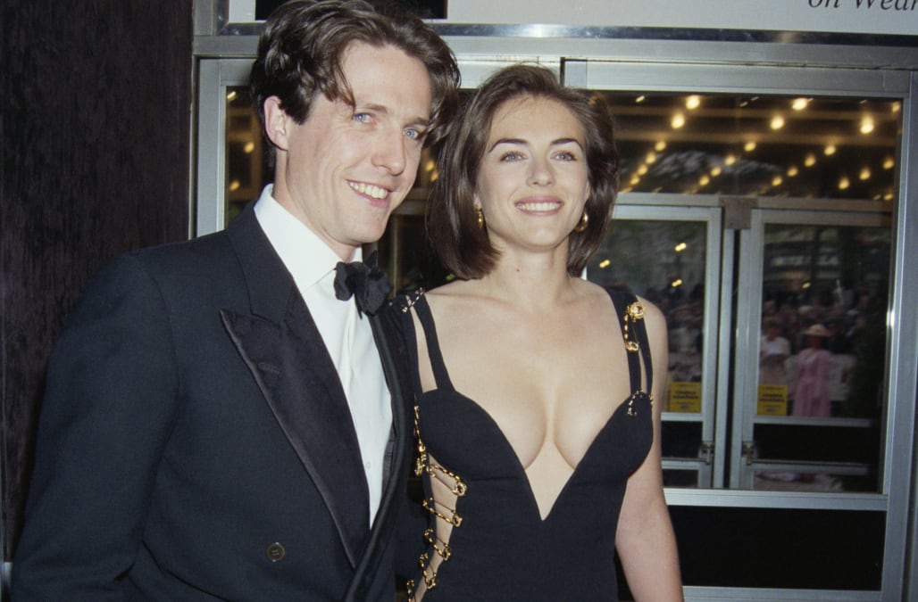468a53259 Elizabeth Hurley recreates iconic safety pin dress that put her in the  spotlight 25 years ago