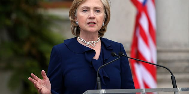 US Secretary of State Hillary Clinton during a speech at Farmleigh House in Dublin as part of her five day tour of Europe.