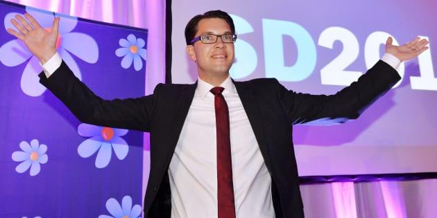 """Jimmie Akesson, leader des """"Démocrates de Suède"""", le parti d'extrême droite suédois, en septembre 2014."""
