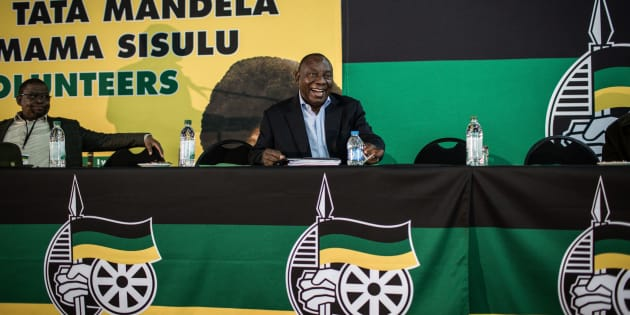 President Cyril Ramaphosa at the ANC summit on land expropriation in Johannesburg on May 19 2018.