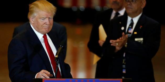 Donald Trump se présente devant les journalistes pour une conférence de presse à la Trump Tower, à New York, le 31 mai 2016.