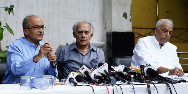 (From left) Prashant Bhushan, Arun Shourie and Yashwant Sinha at their first press conference on the Rafale deal on 8 August in New Delhi.